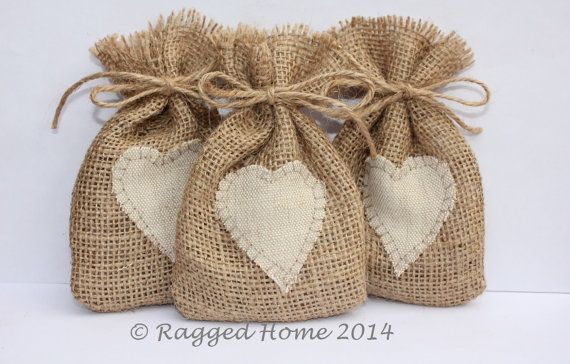 10 x Burlap Hessian Bags with Linen Applique Heart by RaggedHome, £10.00