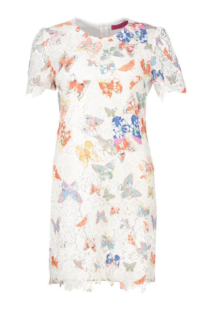 Sandy Butterfly Print Corded Lace Shift Dress