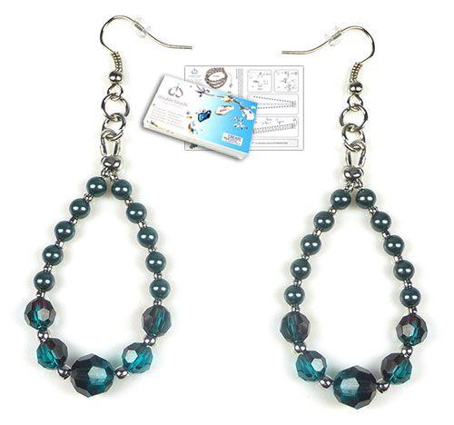 www.beadyourfashion.nl - DoubleBeads Sieradenpakket Mystic Blue oorbellen met SWAROVSKI ELEMENTS parels, kralen en diverse andere materialen (o.a. metalen accessoires)