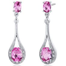 Pink Sapphire Earrings Sterling Silver Oval 4.5 cts SE7938 top