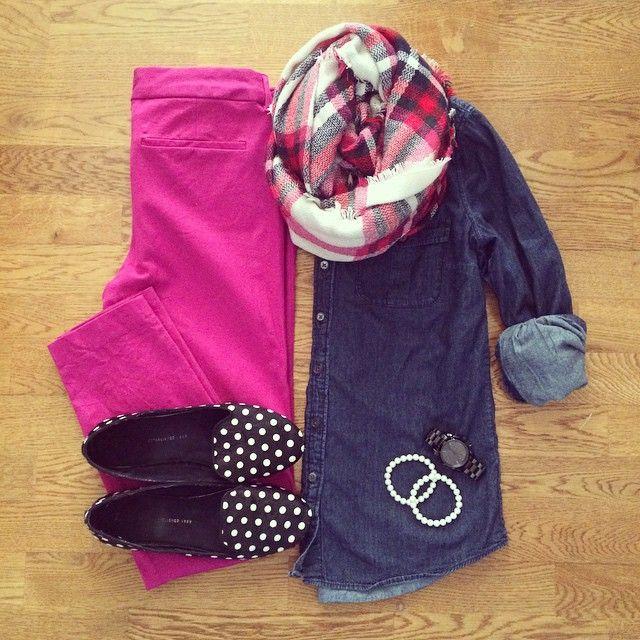 Blanket Scarf, Chambray, Old Navy Pixie Pants, Polka Dot Flats | #workwear #officestyle #liketkit | www.liketk.it/Se1q | IG: @whitecoatwardrobe