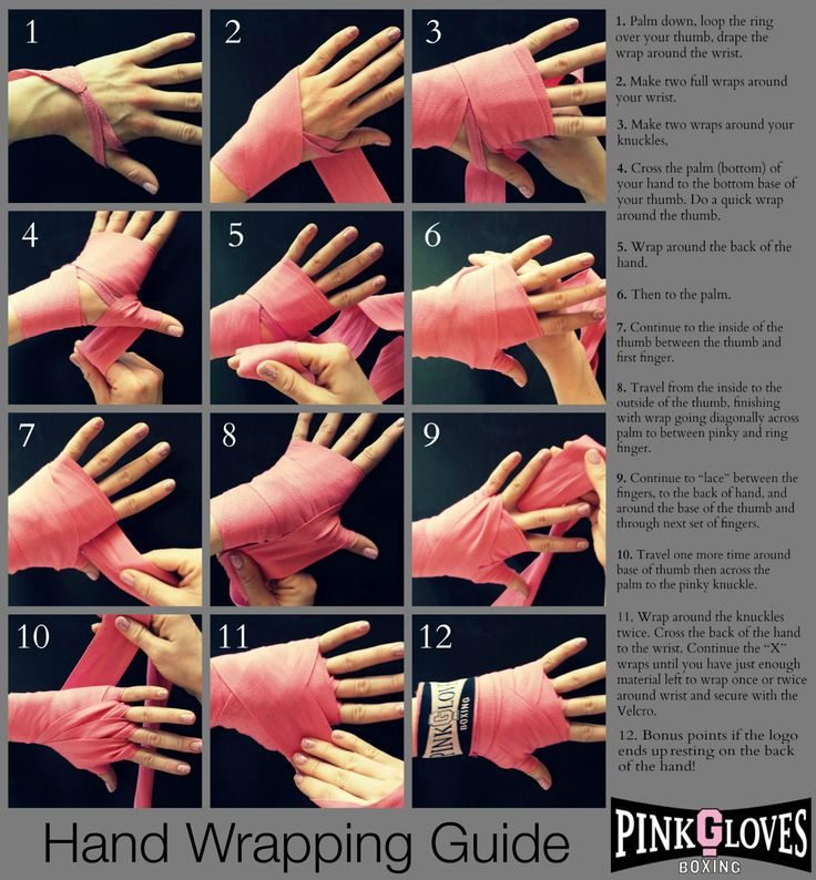 """Hand Wrapping Guide:  There are many ways to wrap the hand, and there definitely isn't one """"best"""" way. But there  is the """"PGB"""" way, which insures protection for three important areas: thumb, knuckles, and wrist.  General notes while you wrap: Keep your palm facing down to keep the same point of reference. Keep your thumb and fingers wide (splayed out).  #pinkglovesboxing #PGB #handwrapping #boxinghandwrapping #boxing #fitness #handwrappingguide #handwraphowto #womenboxing #empowerment #boxer"""
