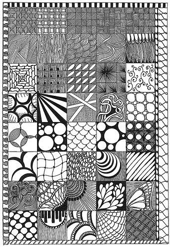 Doodle Grid!Doodles Ideas Zentangle, Zen Tangled, Zentangle Ideas, Zentangle Sampler, Art, Drawing Ideas, Zentangle Pattern For Kids, Texture Drawing, Zentangle Patterns