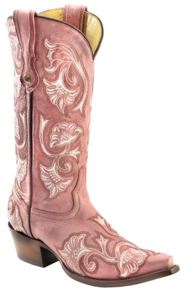 Corral Floral Embroidered Pink Cowgirl Boots - Snip Toe available at #Sheplers