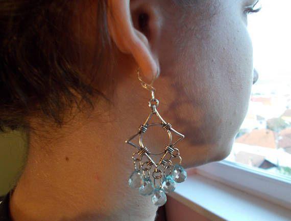 Birthday #giftforher #statement stylish #modern earrings blue dangle