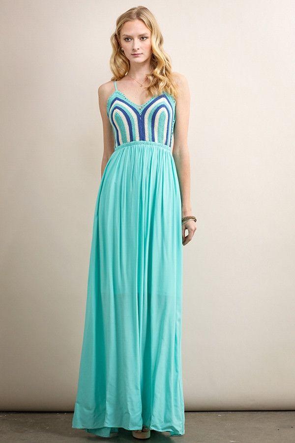Mint Crochet Top Maxi Dress