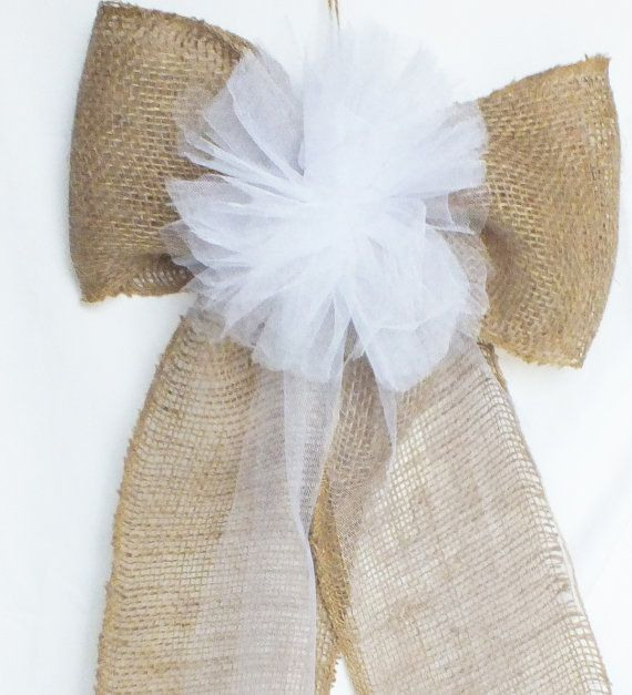 Large Pew Bow - Burlap Pew Bows- Burlap Wedding- Rustic Wedding Decor Set Of Four on Wanelo