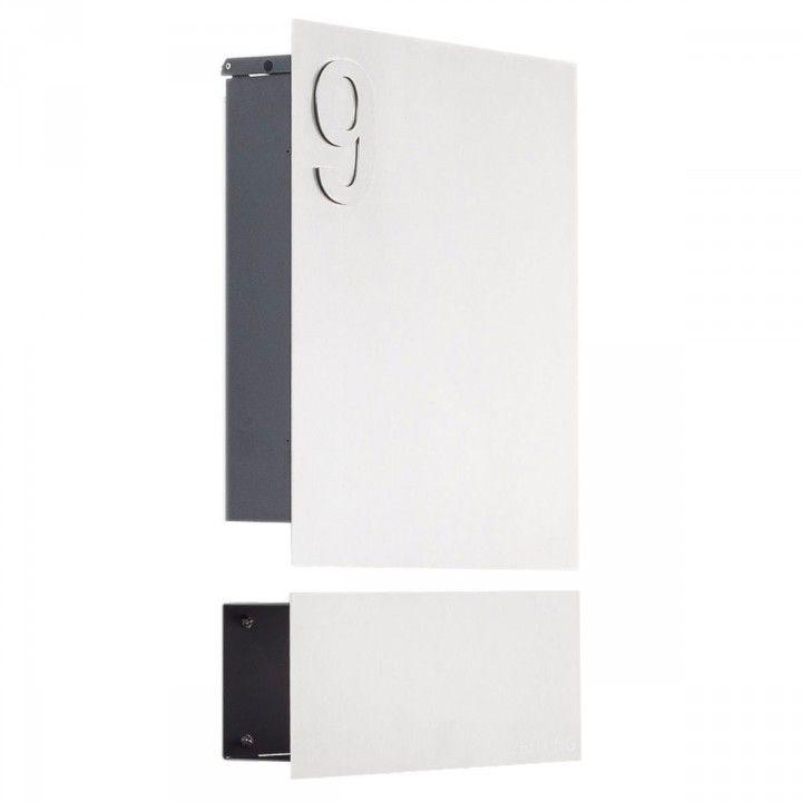 Edelstahl Wandbriefkasten Designer Modell 120 mit Zeitungsrolle & Hausnummer #aufputzbriefkasten #edelstahlbriefkasten #briefkasten #briefkasten_mit_hausnummer #briefkasten_mit_zeitungsfach