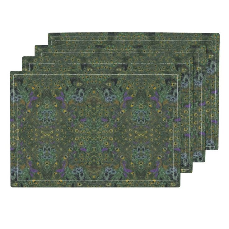 """Set of four (13 x 19 inches size) cloth placemats feature """"Peacock Feathers 01B"""" fabric © Nancy Lee Moran, in colors of gold and green with violet leaves. The customizable set of cloth placemats is available in three fabric options. Eco Canvas is durable, for family dinners.  Linen Cotton makes a natural placemat that will get softer with use.  Organic Sateen offers a lightweight, decorative option, made in the USA by Roostery.com. Click the photo to see placemats. #NancyLeeMoran"""