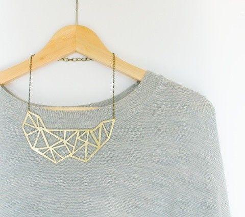 golden brass geometric necklace