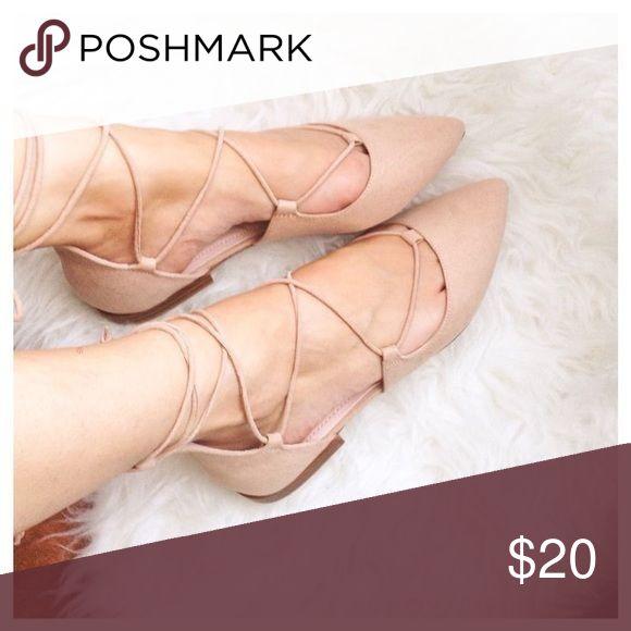 Zara Tie Up Leather Ballerina Flats Zara Tie Up Leather Ballerina Flats, Size 40, worn twice. Zara Shoes Flats & Loafers