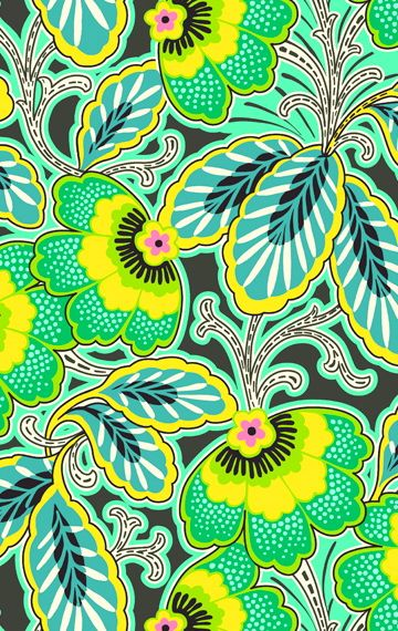 Amy Buttler floral pattern green yellow
