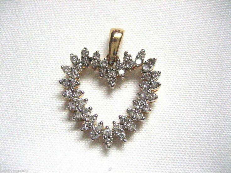 VINTAGE 14K YELLOW GOLD & 48 2MM DIAMOND OPEN HEART PENDANT ~ STUNNING ~