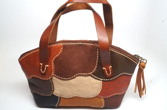 Small leather hand bag Mini tote leather bag Hand by sashaleather