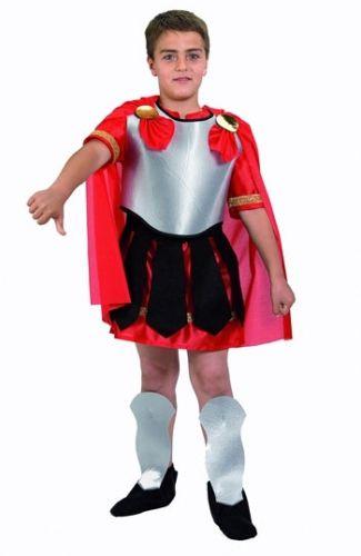 Romeinse gladiator kostuum voor kinderen. Romeinse soldaat of gladiator kostuum voor kinderen met rode cape. Het Romeinse kostuum bestaat uit tuniek, borstplaat, cape, beenbeschermers en riem. Carnavalskleding 2015 #carnaval