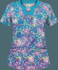 UA Spring Ditzy Royal Print Scrub Top