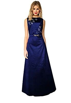 Add grace and charm on your appearance in this elite maxi dress. It is ideal for parties and receptions. You can flaunt your new dress and look exceptional in the party. You will be remembered for long for your stylish personality. It has amazing laser cut floral pattern and an attached belt on the yoke.