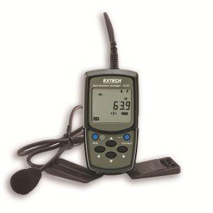 http://www.termometer.se/Handinstrument/Ljudmatning/Extech-Bullerdosimeter-SL355-beraknar-kumulativtv-ljudtryck-Leq-och-overfor-data-via-USB-granssnitt.html  Extech Bullerdosimeter SL355 beräknar kumulativtv ljudtryck, Leq och överför data via USB-gränssnitt  Extech bullerdosimeter spelar in den totala ljudexponeringen under en arbetsdag (8 timmar) och även upp till 24 timmar.. Lagrar upp till 12.000 mätpunkter som kan bearbetas med det medföljande datorprogrammet. Viktigt för att bedömma...