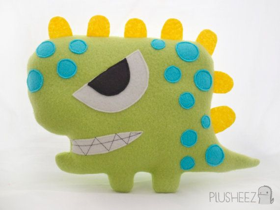 Angry dinosaur plushie monster plush toy green yellow blue spots handmade stuffed toy felt plush toy on Etsy, £13.00