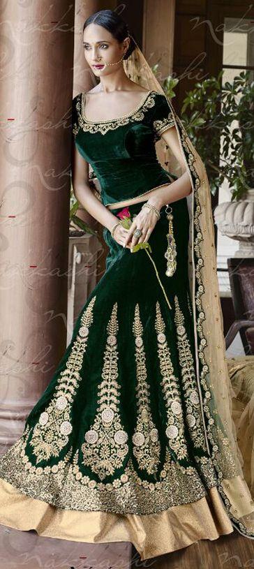 182547: Green  color family Bridal Lehenga, Wedding Lehnga .
