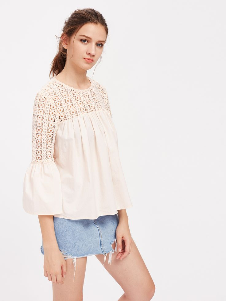 Shop Eyelet Crochet Neck Keyhole Back Bell Cuff Smock Top online. SheIn offers Eyelet Crochet Neck Keyhole Back Bell Cuff Smock Top & more to fit your fashionable needs.