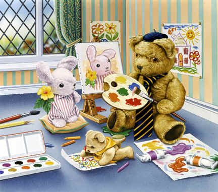 """""""The Art Lesson""""   ~ Geoff Tristram  * I see Old Bear and friends from the Jane Hissey books."""