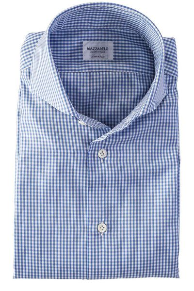 Mazzarelli blue and white check dress shirt with a cutaway spread collar. Made in Italy.