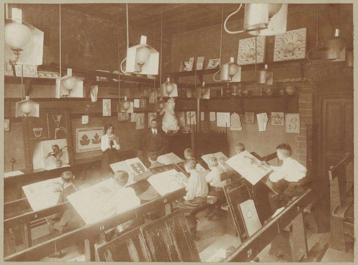 Oefenschool in de Teekenschool, anoniem, 1880 - ca. 1930