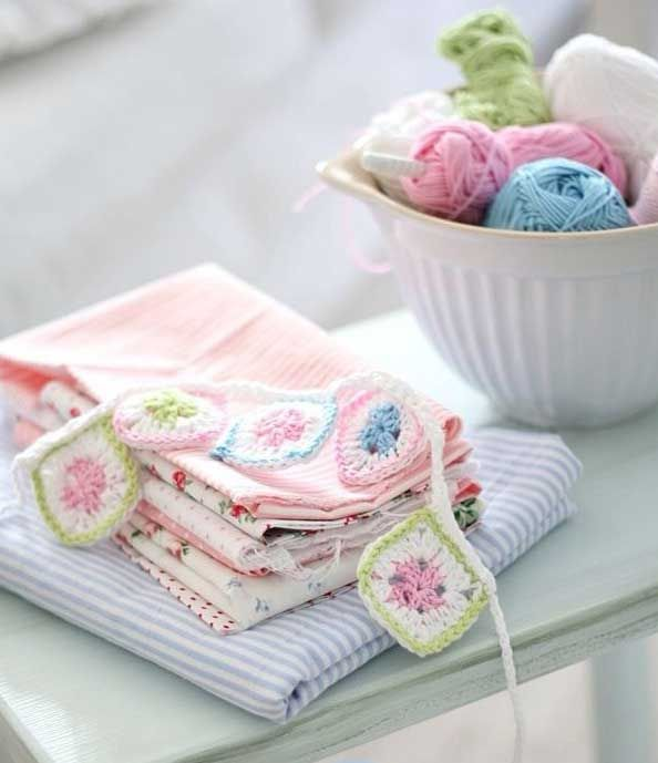 fabric and crochet garland