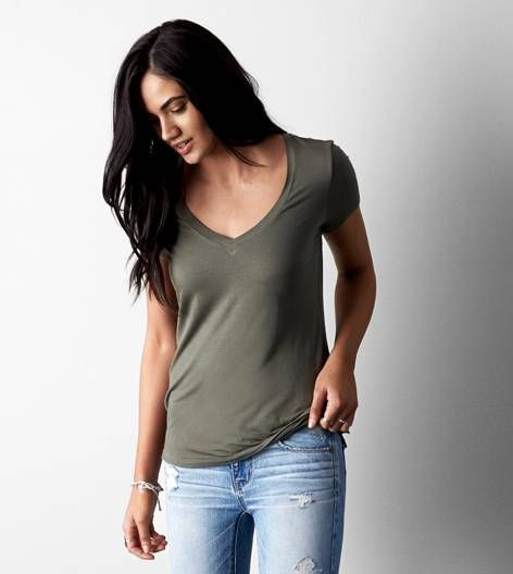 $32 American Eagle - Dusty Olive AEO Soft & Sexy Jegging V-Neck T-