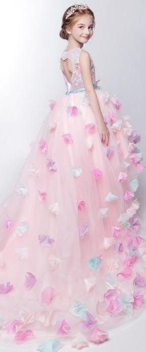 robe princesse rose pour cortège fille dos découpé en forme de coeur ... f2ad4226fdb1
