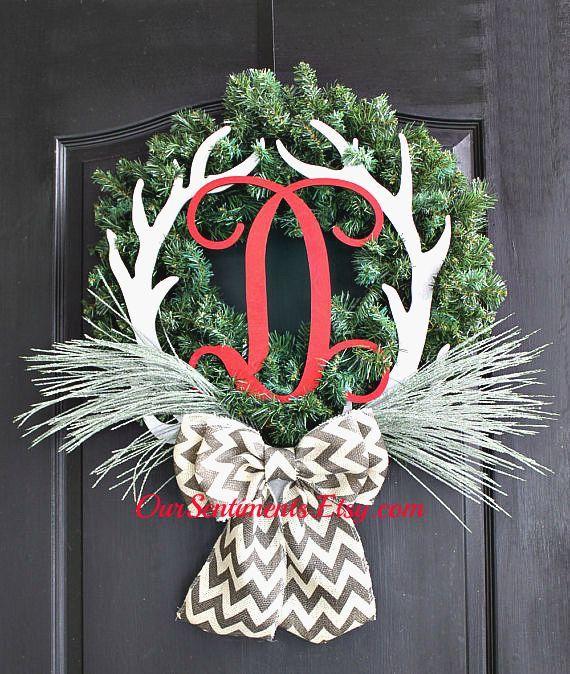 Monogrammed Door Wreath with Deer antlers on an artificial evergreen wreath base Wreath - Door Wreaths - Winter Wreaths for door