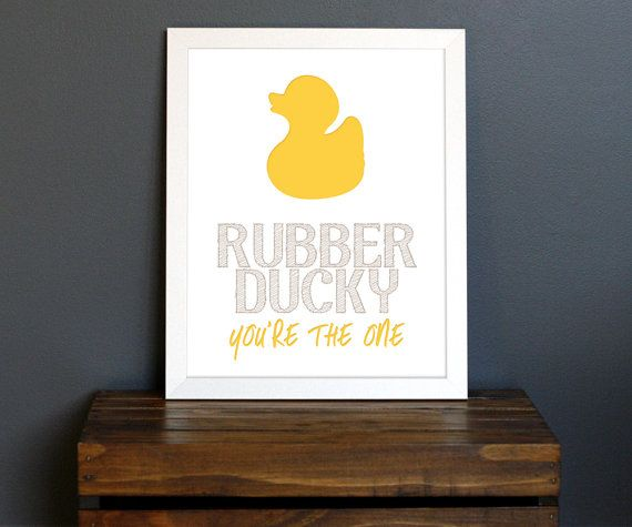 Yellow Rubber Ducky Typography Art Print   Sesame Street, Fun Childu0027s  Bathroom Or Playroom Decor   Baby Bath Time   8 X 10