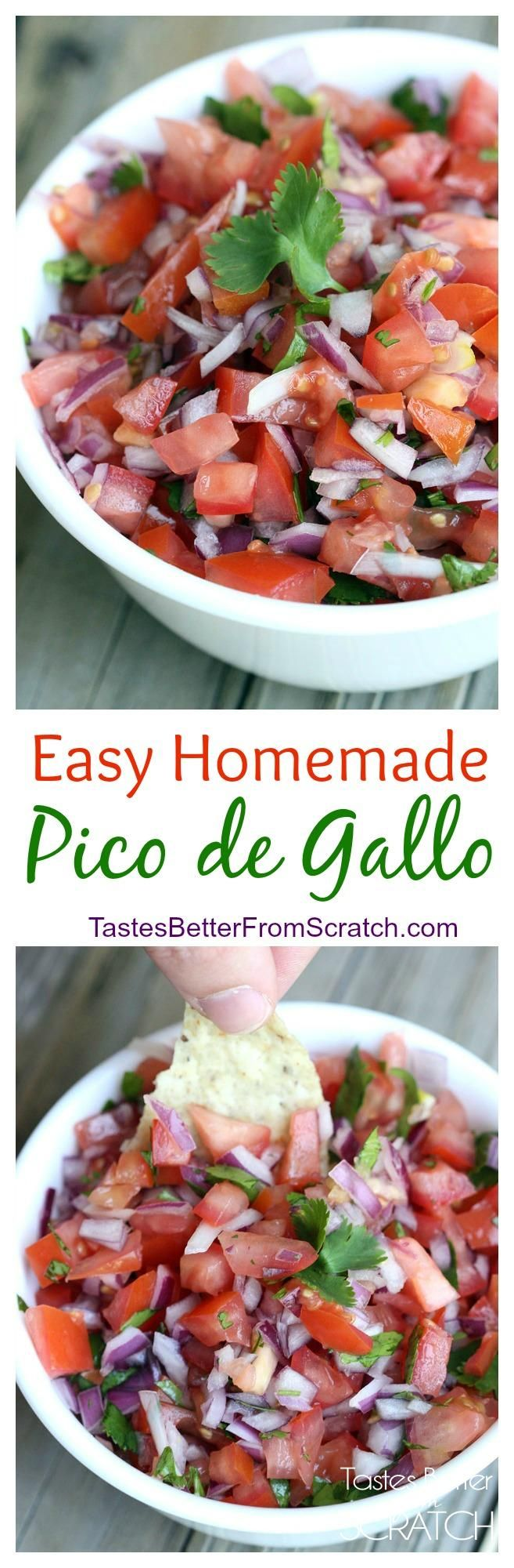 Easy homemade Pico de Gallo recipe from TastesBetterFromScratch.com