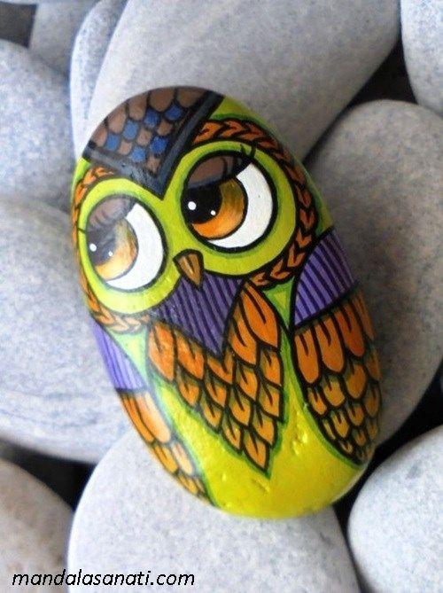taş boyama sanatı baykuş