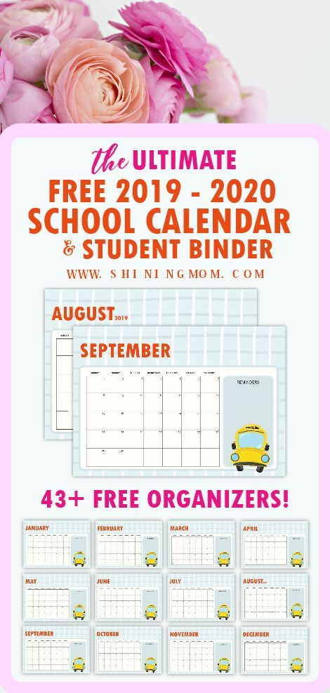 Free School Planner 43 Amazing Organizers For Students Monthly