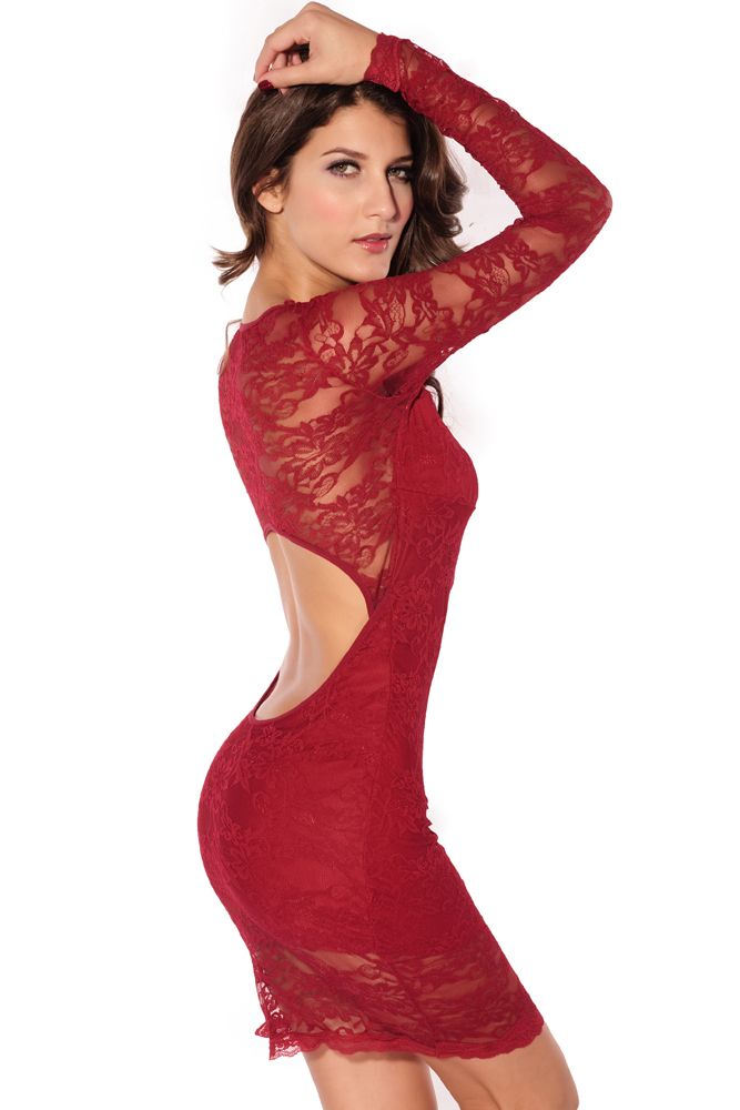 Long Sleeves Lace Dress Red