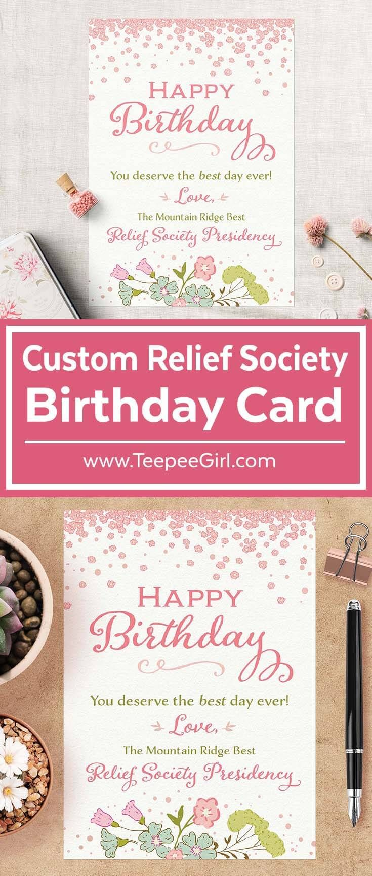 free printable funny0th birthday invitations%0A Custom Birthday Card for LDS Relief Society    x    Get the digital copy  and print
