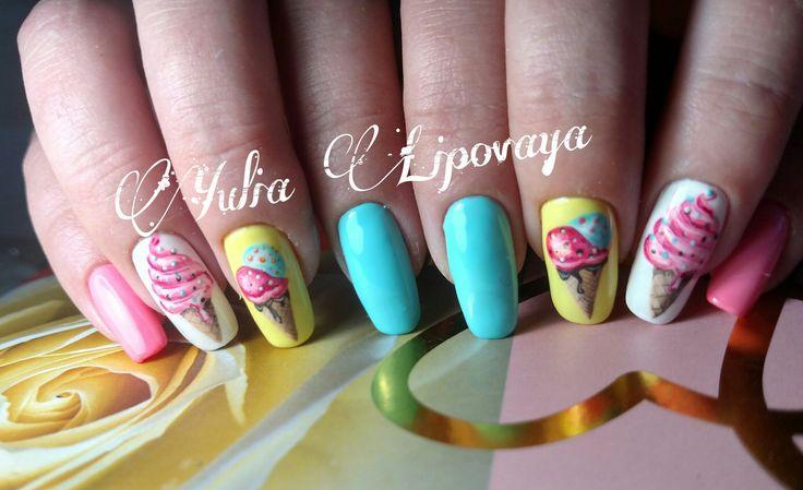 Ногти, летний маникюр, мороженое на ногтях