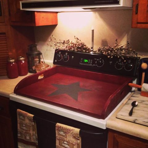 This home wish came true-- had made by The Gift Barn. It makes me happy. Stove shelf with star.