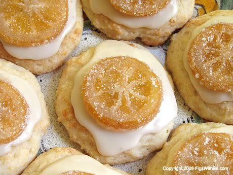 Italian Ricotta Cheese Easter Cookies Decorated With Vanilla Glaze Candied Lemon Slices