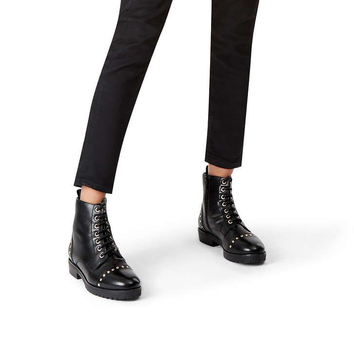 Steady Black Leather Biker Boots By