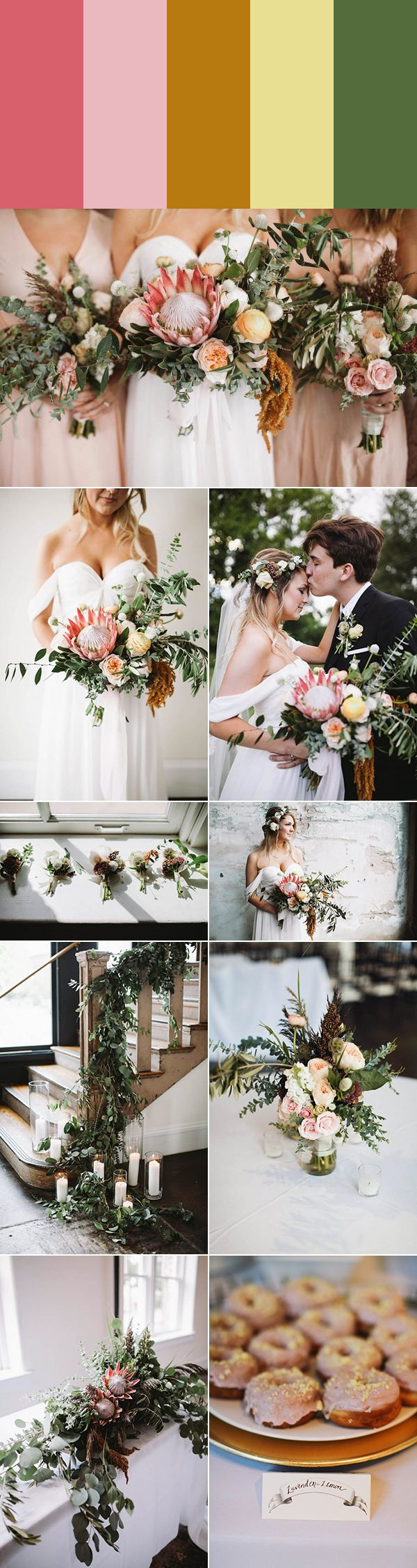 Dusty rose, petal pink, goldenrod, lemon glaze + eucalyptus | Images by Sanford Creative