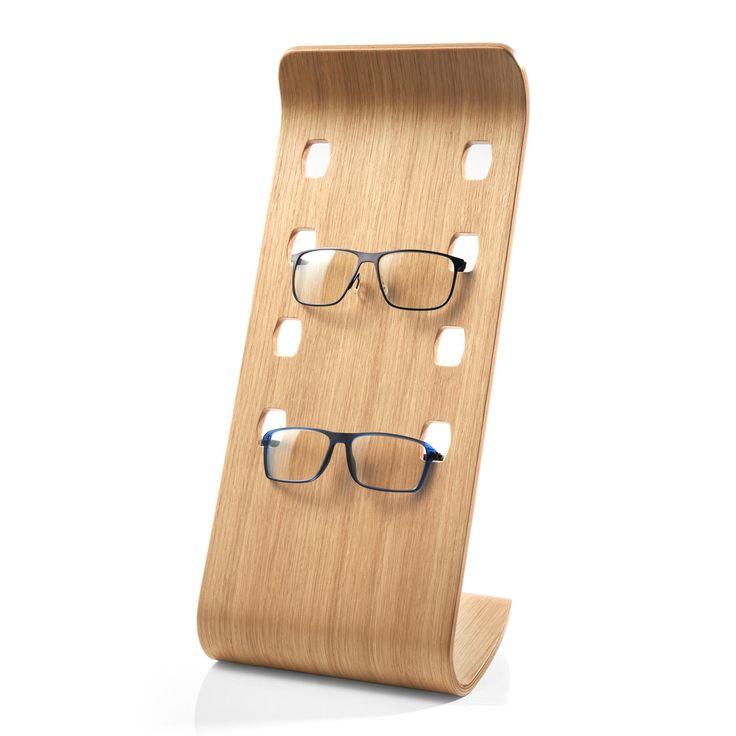 Etagère à lunettes - Accessoire luxueux en placage bois courbé à la teinte chêne actuelle permet de présenter vos 4 modèles favoris.