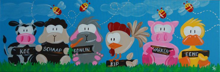 Groot leerzaam schilderij voor in de kinderkamer kinderschilderij met boerderij dieren koe - Decoratie schilderij volwassen kamer ...