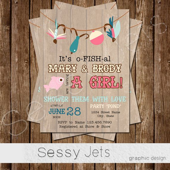 It's o-FISH-al Baby Shower Invitation Fishing Baby by sessyjets