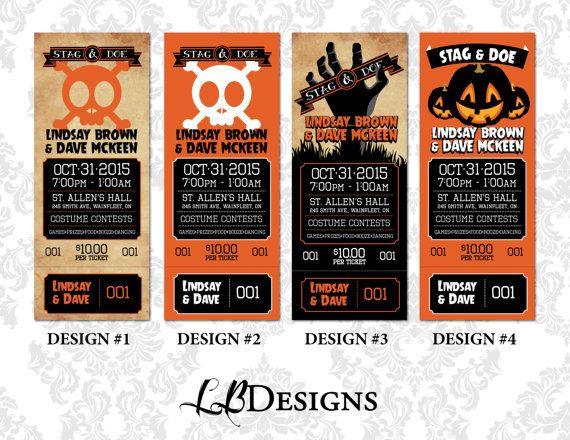 Stag and Doe Tickets  Halloween Themed Tear by LindsayBrownDesigns