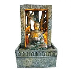 This Enlightenment Buddha table fountain inspires the calmness of meditation and spiritual perfection. It creates the perfect balance of thought and tranquility with the soothing sound of cascading water and soft illuminated lighting.
