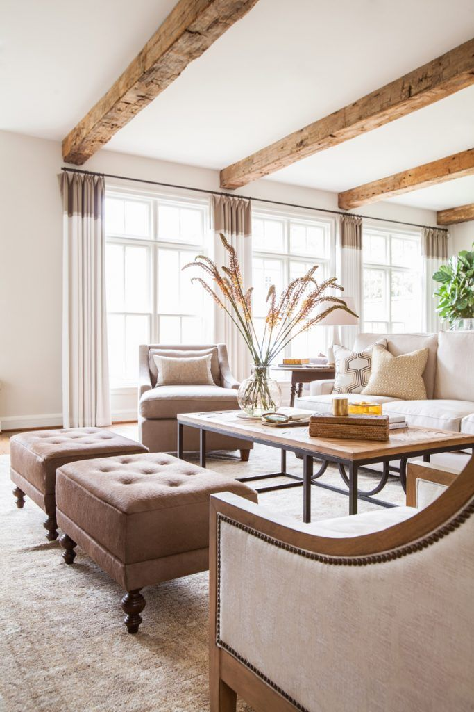 A Rustic, Yet Refined Home In River Oaks   Interior Design by Marie Flanigan of Marie Flanigan Interiors   Photography by Julie Soefer   Modern Sanctuary   Living Room   Glamorous Living Room   Windows   Seating   Taupe Living Room