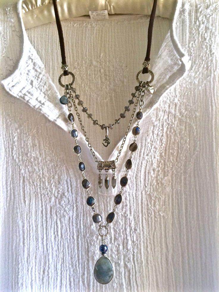 labradorite lover- triple strand boho necklace beaded chains om charm silver & leather sundance style all gemstone pendant long by sweetassjewelry on Etsy